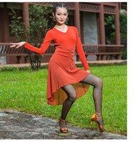 المرحلة ارتداء 2021 الأزياء اللاتينية اللباس أشعل تنورة الرقص تانغو ووم الكبار عرض زي الحديثة / تشاتشا / رومبا dancewear 2 ألوان B0244
