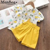 Menoea Kids Clothing Sets 2020 Girls Sleeveless Flower Pattern Clothes Suits Children Outfits Girl Lapel Clothes Suit