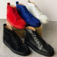2020 트레이너 스니커즈 주니어 스웨이드 박힌 스파이크 신발 평면 트레이너 붉은 바닥 신발 하이 탑 실버 아군 남자 신발