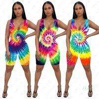 Dunkelnde Jumpsuits Kurzer Hosen Mode Tie-gefärbte Damen Sommer Sexy Strampler Weibliche Outfits 3D Druck Sleeveless Ein-Teilen Shorts D42205