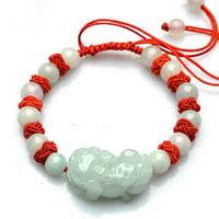 Jadeit Jade, jasnozielony łańcuch dłoni, łańcuch ręczny, ratunek życia bransoletka czerwona linowa