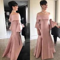Vestidos de mãe rosa empoeirado plus tamanho sereia fora do ombro sino mangas chão comprimento mãe do vestido da noiva feito sob encomenda de alta qualidade