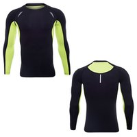 Running shirts dry fit mens gym clothing scoop neck long sleeves qiy dri underwear body building suiit polyester apparel