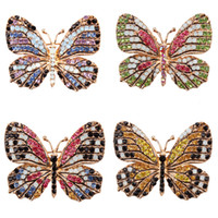 Joyería de moda creativa de la mariposa del Rhinestone colorido broche broches de aleación esmaltada Animal Pin Accesorios prendas de vestir broches delicados