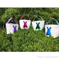 سلال الفصح الأرنب diy حورية البحر الترتر سلة برميل الخيش أكياس تخزين الأرنب حقائب الأرنب الذيل سلة حمل 4 اللون 2019