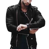 E-Baihui 5XL Mens PU Jacken Herbst Kunstleder Mann Mäntel Männliche Motorradjacke Slim Fit Mode Herren Markenkleidung 88st0485