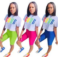 Frauen Casual Trainingsanzug Brief 2 Stück Set Kurzarm Crop Top Bodycon Mini Shorts Designer Sommer Kleidung Sportswear Laufanzug 1015