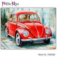 Diamante ricamo rosso retrò auto trapano Beetle piazza piena mosaico pittura di paesaggio tondo vendita di cristallo Punto croce autoadesivo della parete