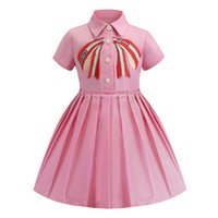 Retail baby girl dresses 2019 embroidered lapel short sleeve...