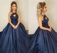 Princesa del vestido de bola largo Quinceañera vestidos halter 2020 Azul marino Tamaño más baratos apliques de encaje desfile de la muchacha partido formal de los vestidos de noche