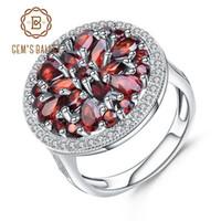 3.88ct Ballet da jóia redonda Natural Vermelho Garnet Gemstone anel de 925 anéis de coquetel Sterling Silver vintage para mulheres Fine Jewelry J190706