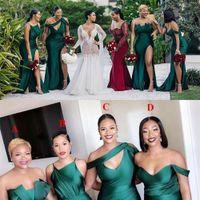 진한 녹색 새로운 아프리카 섹시한 긴 신부 들러리 드레스 사이드 스플릿 결혼식 인어 바닥 길이 새틴 플러스 크기 정식 하녀 명예 가운