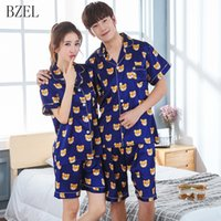 BZEL Пара Пижама Набор короткого рукав + шорты Пижама Медведь Ночное атласных любовники Одежда Летняя Pijama Mujer Пижама Женщина