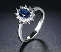 كريستال الأزرق لون فضي حلقة مجوهرات مصنوعة من حقيقية SWA عناصر من النمسا 5 مقاسات متعددة HOTSALE R076