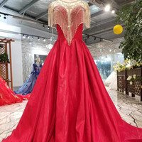 Red A- Line Evening Dresses Long Tassel Beaded O Neck Cap Sle...