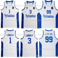 Hombres al por mayor Chino Hills 1 Liangelo Ball 3 Lituania Vytautas 99 Lavar Ball Steins Blanco Blanco Azul Envío gratis Basketball Jersey