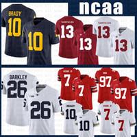 NCAA alabama crimson 조수 축구 유니폼 13 Tua Tagovailoa Michigan Wolverines 10 Tom Brady Penn State Nittany Lion 26 Saquon Barkley