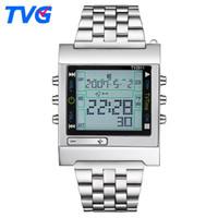 orologio nuovo rettangolo TVG telecomando Digital Sport allarme TV DVD remoto uomini e donne orologio dell'acciaio inossidabile