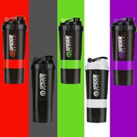La proteína 500ml Shaker Blender Mixer Copa Deportes Entrenamiento Entrenamiento de la gimnasia 3 capas de botella de múltiples funciones de la coctelera envase del agua DH1349 T03