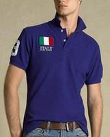 Americanos Moda Casual Sólidos camisas pólo para homens Big Cavalo bordado EUA Itália Reino Unido France Flag Cotton clássico Verão T-shirt do esporte Polos