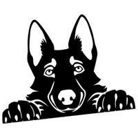 15 * 11 CM Peeking Yakışıklı Serin Grafik Alman Çoban Sevimli Vinil Çıkartması Araba Sticker Siyah / Gümüş CA-1269
