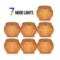 USB Holzmaserung Luftbefeuchter 7 Farbe LED Nachtlicht Berührungsempfindliche Aroma Ätherisches Öl Diffusor Luftreiniger Nebelhersteller für Büro GGA2597
