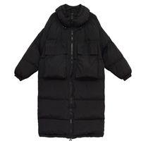 Женщины Зима Длинных пальто Parka Крупногабаритные Твердые куртки Женщина Свободный Свободный Толстый Теплый вниз Parkas Хлопок Padded Outwear