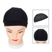 Dome Cap Elastik Stocking Saç Fileleri Peruk Astar Kapaklar Örgü Kap Görünmez Saç Net Naylon Streç Peruk Net Kap Siyah renk