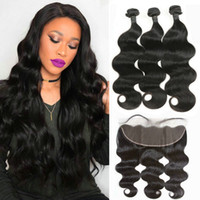 Brazilian Body Wave 3 Bundles with Lace Frontal Closure Ear ...