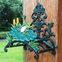 Gusseisen Gartenschlauch-Halter Frosch auf Lotus-Blatt-Wand-Schlauch Hanger Schlauchaufroller Dekorative Rasen-Garten-Yard Ausrüstung Antike Vintage Wohnkultur