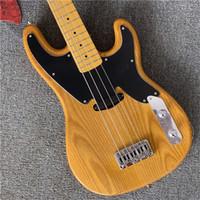 Envío gratis Amarillo 4 cuerdas de la guitarra baja de la precisión con el cuerpo de Alder, PickGuard negro, Oferta guitarra personalizada Guitarra