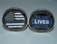 경찰 도전 동전. 푸른 삶은 얇은 파란 라인을 동전 XL
