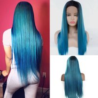 Mix Verde Ombre Cor Azul Cabelo Liso Lace Wig 3 * 13 Glueless Lace Synthetic Frente Wigs cabelo calor sintética resistente para as Mulheres Cosplay