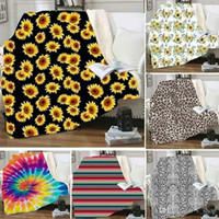 Hot Sherpa Blanket 150*130cm sunflower floral striled leopard 3D Printed Kids Winter Plush Shawl Couch sofa throw Fleece Wrap