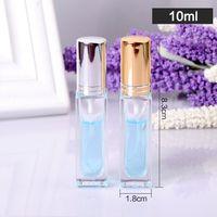 5 ml 6 ml 10 ml Flacons en verre métal vide Parfum bouteille réutilisable Carré verre transparent par pulvérisation Bouteille en verre GGA3138-1