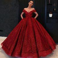 Superbe robe de soirée rouge brillante Robe à volants paillettes à l'épaule Longues robes de bal de bal gonflées robe de céléérisme
