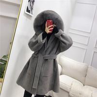 OFTBUY 2019 Gerçek Kürk Kış Ceket Kadınlar Doğal Fox Kürk Yaka Hood Kaşmir Yün Yün Palto Bayan Casual Kabanlar Y191206