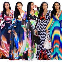 Vestidoes Langes Chiffon Kleid Frauen Kleidung Frühling Herbst Designer V-Ausschnitt Langarm Blumendruck Maxi Kleider plus Größe LJJA2973