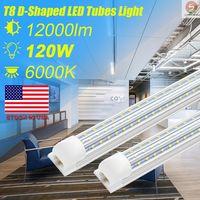 ROMWISH , 4ft 8ft 120W Double Side 3 Rows LED Tube Lights D-Shaped + V-Shaped Integrated LED Tube Light Fixtures LED Shop Lights