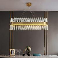 Dikdörtgen Kristal Avize Modern Yaratıcı Aydınlatma LED odası mutfak ada yemek için lüks Asma Lamba Fikstür Şeritleri