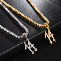 US7 Bling Iced Out Número 14 PendantNeckalces Micro pavimentada CZ neckalce para o homem Hip Hop Jewelry