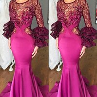Fuchsia Mermaid Prom Dresses Lace Jewel Neck Satin Celebrity...
