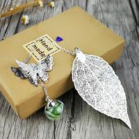 Bookmark coffret cadeau Pendentif ensemble graduation feuille de métal giveaway professeur de souvenir argenté sec charme chanceux unique faveur invité de mariage de fleurs