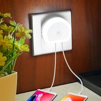 LED dual USB port motion sensor night light with wall charge...
