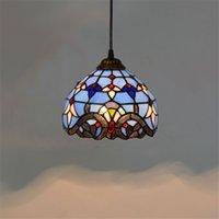 Tiffany mavisi cam avize TF003 koridor oda yemek odası yatak odası çubuğunu yaşayan cam kolye ışıkları lekeli