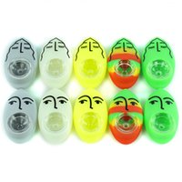 "Pipas para fumar de silicona de grado alimenticio Pipas de cuchara portátiles de 2.6 ""con tazón de vidrio para fumar pipas hechas a mano Expresiones faciales coloridas hierba de guijarros"