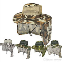 Boonie Hats Outdoor Camuflagem Caps Esporte Cap Militar selva Folha Pesca Chapéus Sun Tela Gauze Cap Cowboy Exército compactáveis Bucket Hat LTYP120