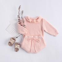 Nova primavera e outono novos estilos Bebê crianças bonito cor soild manga comprida Ruffles Collar Knitting Shirt + Short 2 sets Sweater frete grátis