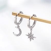 Estrella Luna Asimétrica 925 Pendientes de Aro de Plata de Ley Cubic Zirconia para Las Mujeres de Moda CZ Círculo Orejera Anillo de Oreja Joyería