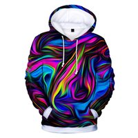 funny Tie dye Colorful printed fashion hip hop 3d hoodies pu...